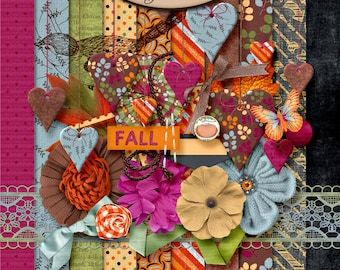 Scrapbooking, Digital, Autumn, Seasonal, Fall: Sweet October Mini Kit