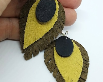 Layered Real Leather Feathered Earrings