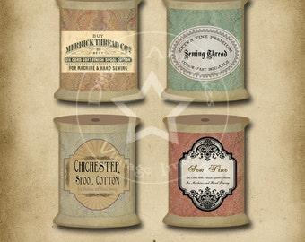 Bobine Vintage Tags Collage feuille téléchargement