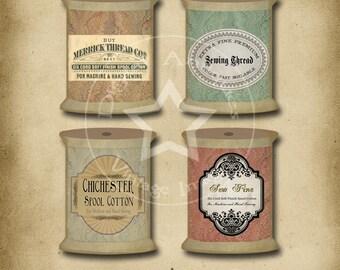 Vintage Spool Tags Collage Sheet Instant Digital Download