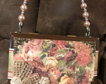 Cigar box purse flowers and pink pearls