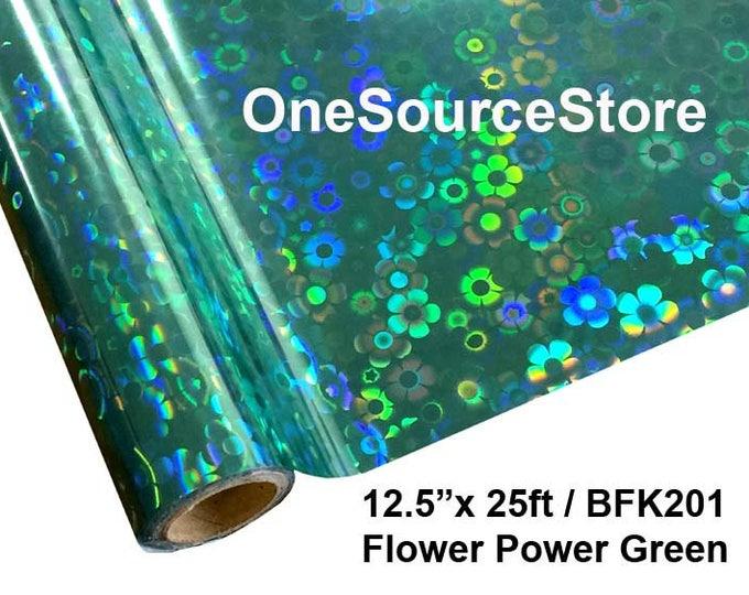"""HTV Textile Foil* / 12.5 """"x 25 ft / Flower Power Green / BFK201"""