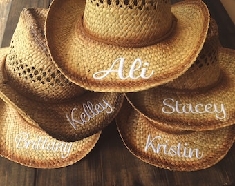 PERSONALIZED COWGIRL HAT / Bachelorette Party Gift / Bride / Bridesmaid / Monogrammed Initials Hat