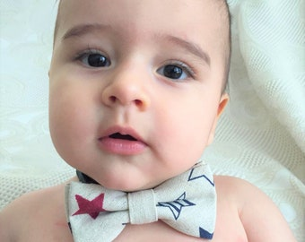 Independence day Usa Flag Colours Super Cute Baby Boy Bowtie, Newborn to Child Toddler Boys Adjustable Handmade Bowtie Kids Bowtie