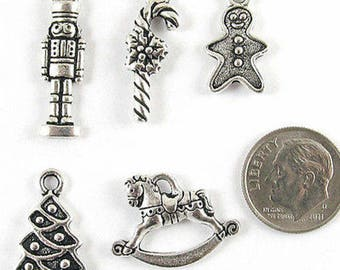 TierraCast Christmas Charm MIX #1-Silver Tree, Horse, Candy Cane (5 Pcs.)