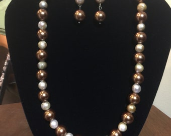 Two-Tone Faux and Freshwater Pearl Necklace & Earring Set
