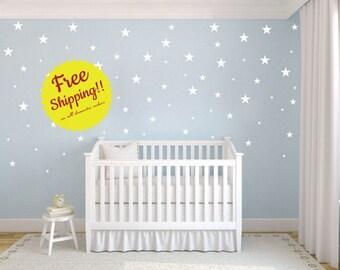 Star Shapes Multisize 75 per - Decal  Wall Vinyl Sticker FREE SHIPPING Stars Night Sky Nursery Decor Confetti Baby Boy Girls Room Entryway