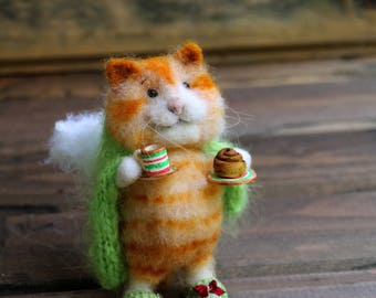 needle felt cat angel of home in a blanket with cup and bun, felted cat, felt animal, eco toy, ahgel mouse, felt mice