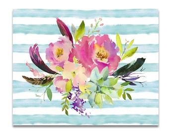 Watercolor Floral Art, Floral Printable Art, Floral Heart Print, Watercolor Flowers Printable, Inspirational Art, Watercolor Flower Art
