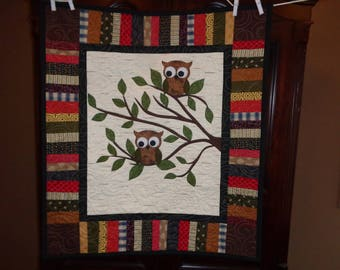 Spring Owl Wall quilt, Owl Small quilt 0122-01