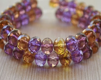 10 Amethyst & Amber Czech Picasso Bead Mix- 8x6mm Faceted Rondelle- Spring Garden (721-10)