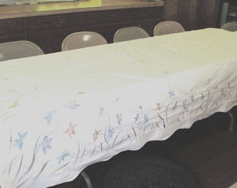 Elegant table cover; Ecru tablecloth with machine embroidered gold, grey and blue flowers; vintage cotton cloth 108 in. x 64 in; 1980's