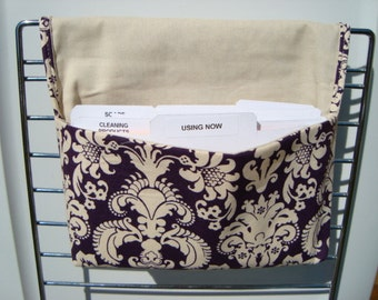 10% Off Fabric Coupon Organizer /Budget Organizer Holder-Attaches to Your Shopping Cart - Purple/Plum Damask