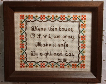 Bless This House, Oh Lord….Crewel Needlepoint Wall Hanging Framed Picture