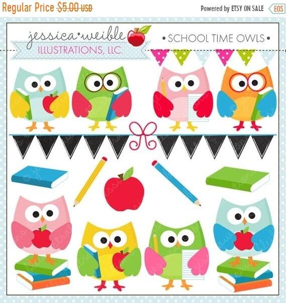 on sale school time owls cute digital clipart for commercial and rh etsystudio com Owl Teacher Clip Art Owl Teacher Clip Art