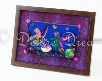 Fairy Decor, Needle Felt Picture on Harris Tweed, Fairy Diorama, Fairy Shadowbox, Felt Art, Fiber Art, Textile Art, Fairy Primitive Folk Art