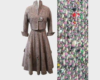 1950s Amelia Gray Jr. Rainbow Flecked Tweed Suit XS
