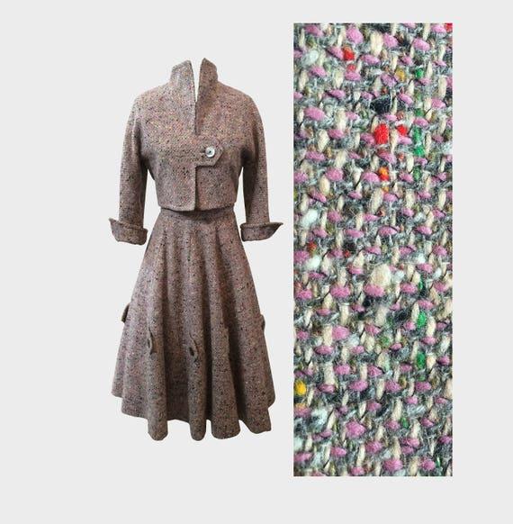 Jr Flecked Rainbow Gray 1950s Suit XS Tweed Amelia OqH7xw4