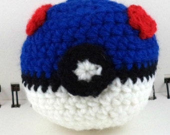 Crocheted Monster Catching Ball - Blue (medium)