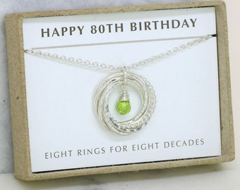 80th birthday gift, August birthstone necklace 80th, peridot necklace for 80th birthday, gift for grandmother, mom - Lilia