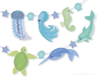 DIY Printable Sea Creature blue green Banner PDF digital download Scrapbook mermaid Party Decorations
