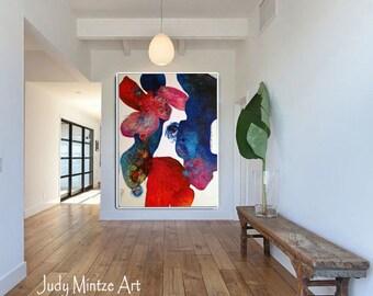 Original Art, Original Painting, Abstract Art, Abstract Bold Reds and Blues 48X36, Modern Art, Wall Art, Contemporary Art, Large Art
