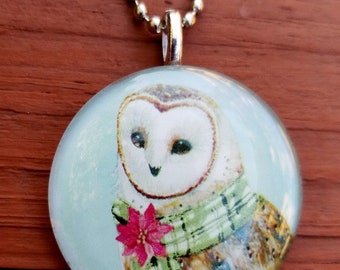Christmas Snow Owl   Glass Tile Pendant