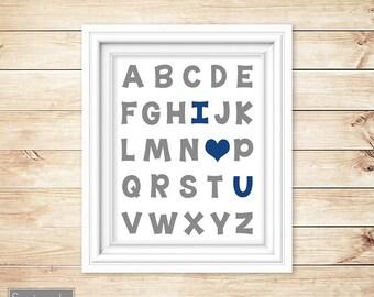 Grey Navy Blue Nursery Wall Art Alphabet I love You Heart ABC's Boy's Gray Room Decor Printable 11x14 Digital JPG Instant Download (21)