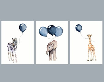 Nursery Wall Art Set Of Three Navy Nursery Decor Baby Animal Prints Baby  Boy Wall Decor