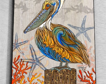 Pelican Perch Wall Art Panel