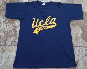 Vtg 70s UCLA Alumni Large Henley T Shirt