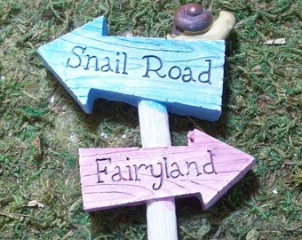 ON SALE was 4.95, Snail Road and Fairyland Miniature sign, fairy gnome tararium gardens