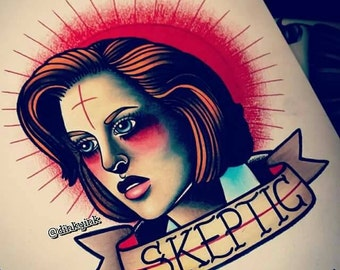 "The X Files ""Scully: The Patron Saint of Skepticism"" Dana Scully the Skeptic Limited A4 Art Print"