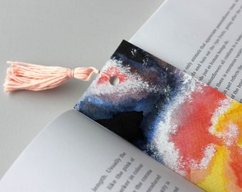 galaxy watercolor bookmark // handmade bookmark // tassel bookmark