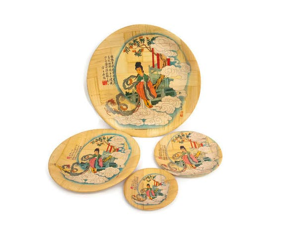 sc 1 st  Etsy & Vintage Bamboo Plate Set of 4 The Goddess of Moon Made in