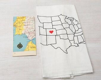 Tea Towel - Screen Printed - Flour Sack Towel - Map - Home Sweet Home - Classic Flour Sack Towel - Eco Friendly