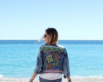Bohemian gypsy jeans jacket unisex