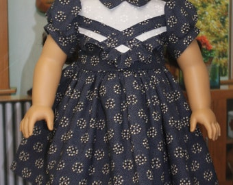 American Girl Style 1940s Dress in Navy Blue