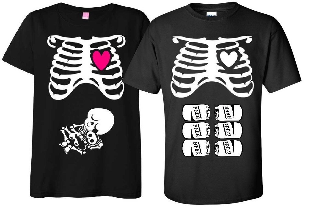 Maternity Halloween T-Shirt Costume Rib Cage and Baby Skeleton