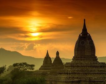 Bagan Myanmar Wall Art, Bagan Temples, Myanmar Photography, Asian Wall Art, Buddhism, Sunset Wall Art Print,  Landscape Photography, Burma