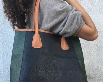 Vintage Neiman Marcus colorblock large leather tote bag