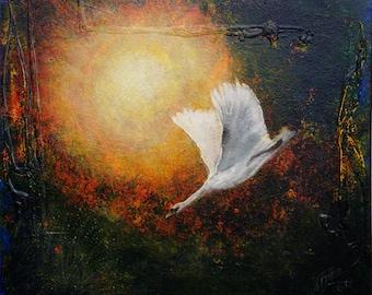 Painting swan,, acrylic, decoration,