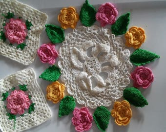Vintage Crocheted Doilies-Pink and Yellow Roses Doilies-Round Doilies-Square Doilies-Floral Doilies-Doilies-Vintage Doilies-Rose Doilies