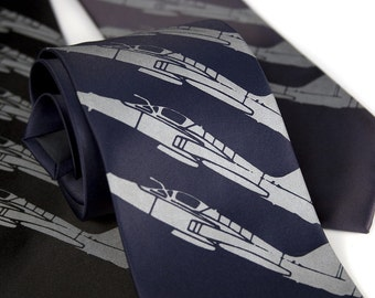 "Airplane necktie, ""Plane Stripe"" tie. Fighter jet silkscreen design. Dove grey print. Standard, narrow and extra long."