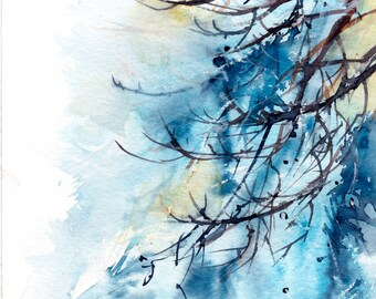 Winter Tree Branches ORIGINAL Watercolor Painting, Abstract Realism Nature Painting, Modern Watercolour Art