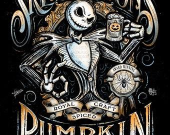 Jack's Pumpkin Ale Inspired Halloween Design by JP Perez and Barrett Biggers Premium Quality Giclee Archival Print
