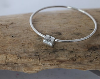 Hand Stamped Silver Bangle - Custom Silver Bangle,  Silver Charm Bracelet, Good Luck Jewelry, Minimalist Bangle, Everyday Bracelet