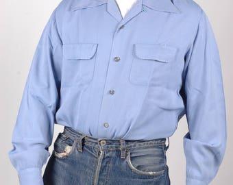True vintage 1950s Gab shirt, loop collar, baby blue, rockabilly, Lindy hop