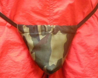New Men's GREEN WOODLAND CAMO Camoflauge Hunting Gstring Thong Male Lingerie Underwear