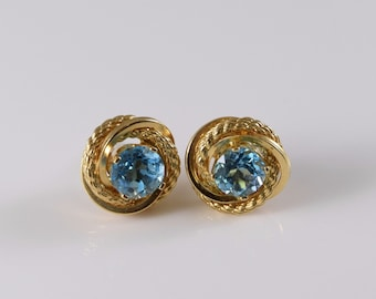 Beautiful Vintage 14K Yellow Gold Topaz Earrings